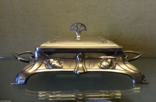 Antique Wmf Art Nouveau Silver Plated Butter Dish photo