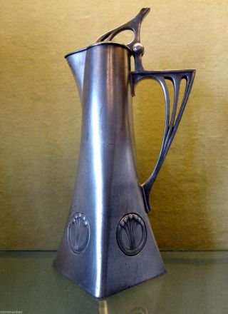 Antique Wmf Art Nouveau Silver Plated Pitcher photo