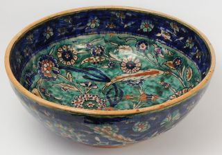 Large Palestine Antique Iznik Style Islamic Bowl C1920 ' S photo