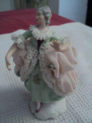 Antique German Dresden Lace Ballerina Figurine Victorian Lady Porcelain photo