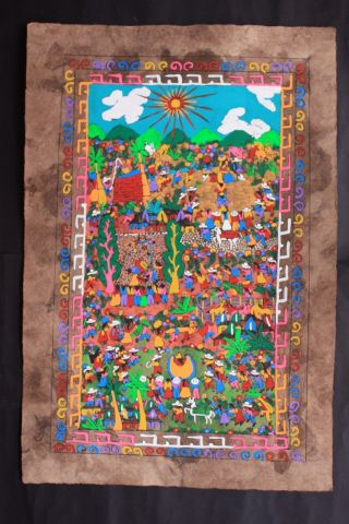 Mexican Amate Painting Latin Native Art Wall Hanging Antique Decor Ethnic Craft photo