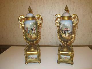 Antique French Painted Sevres Porcelain Urns W/ Horse Scene Gilt Metal photo