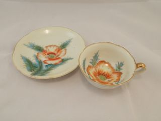 Vintage Hand Painted Teacup & Saucer,  Japan photo