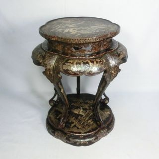 A272: Chinese Old Lacquer Ware Tall Display Stand With Good Mother - Of - Pearl Work photo