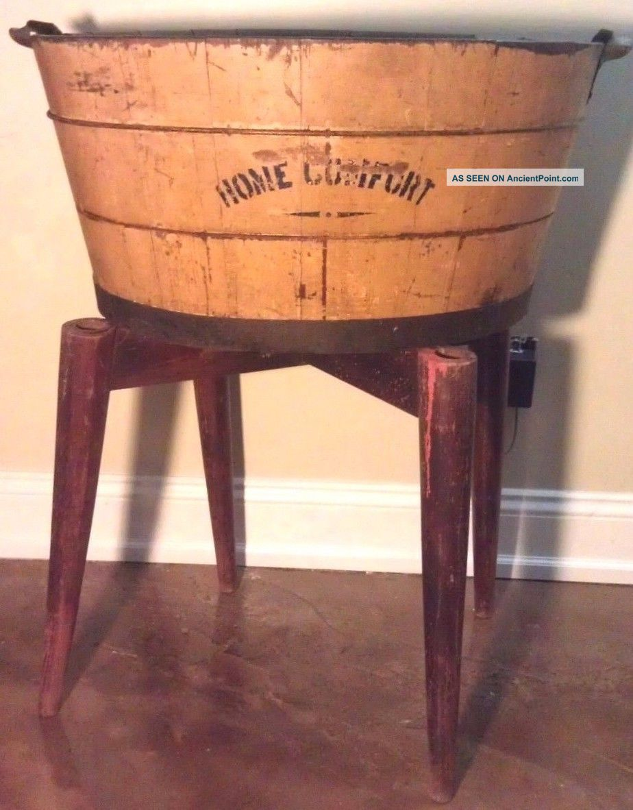 Antique Wash Tub Home Comfort Mustard Color Basin Primitive Washing Machines photo