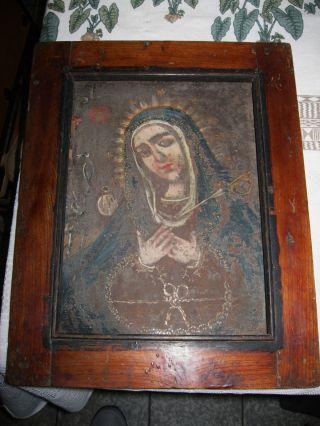 Antique Retablo On Tin Our Lady Of Sorrows Rare Interpretation photo