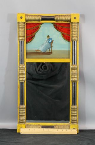 Antique 19thc American Primitive Folk Art Painted Mirror & Glass Tablet,  Nr photo