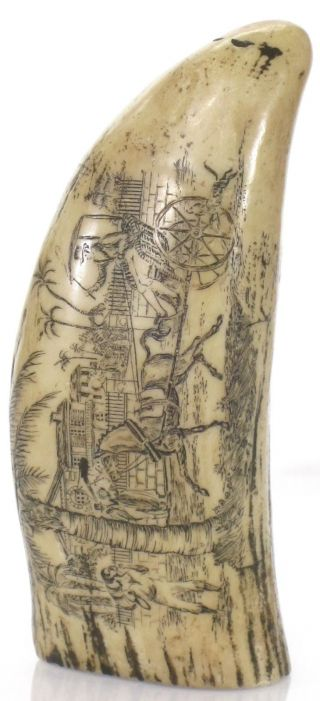 Vtg Resin Scrimshaw Whale Tooth Waring & Co Wharf Scene Nautical Maritime 5 7/8