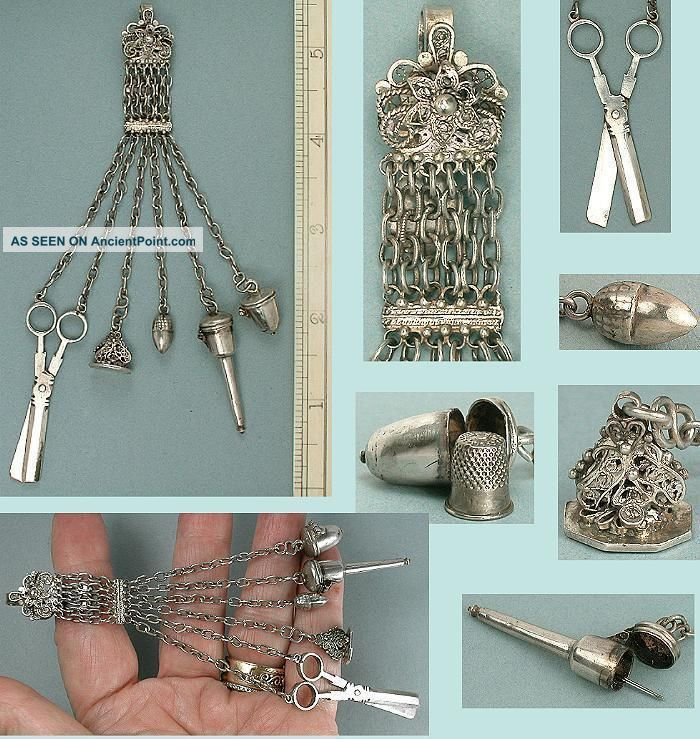 Rare Antique Doll ' S Silver Sewing Chatelaine Dutch Hallmarks Circa 1750 Other Antique Sewing photo