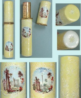 Antique Staffordshire Yellow Honeysuckle Enamel Bodkin/needle Case Circa 1780 photo