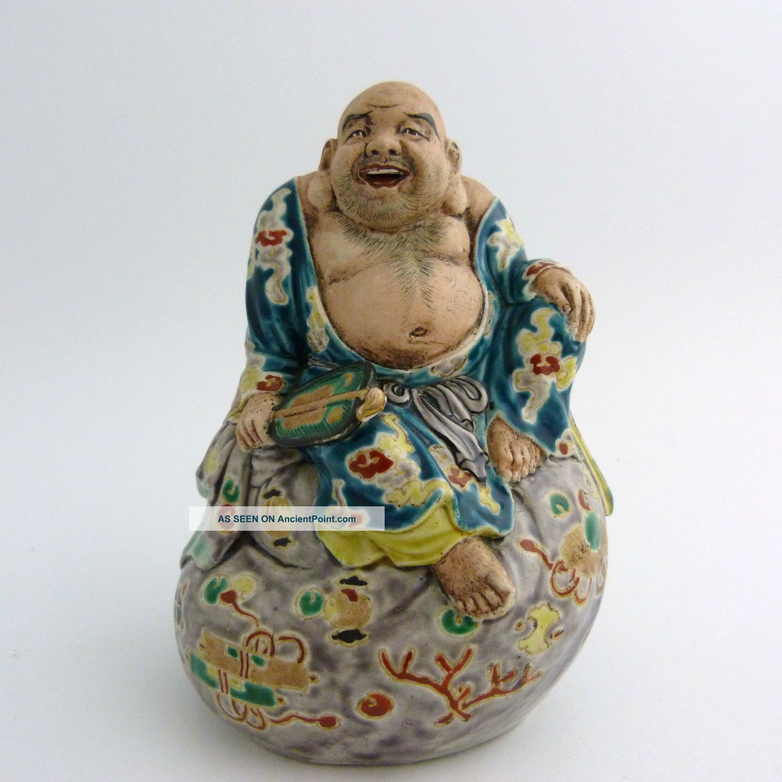 Japanese Kutani Porcelain Figure Of A Hotei,  Meiji Period Buddhas photo