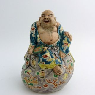 Japanese Kutani Porcelain Figure Of A Hotei,  Meiji Period photo