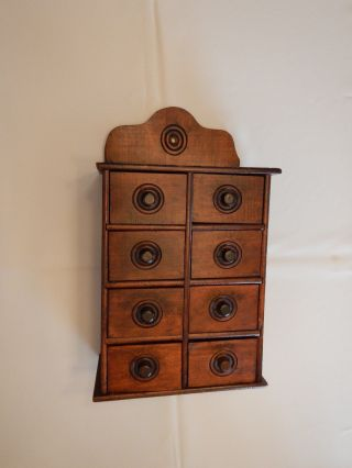 Antique Primitive All Wall Hanging 8 Drawer Wood Spice Cabinet photo