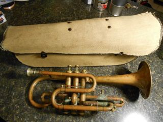 Vintage Antique Marceau Trumpet Coronet W/case,  Item History Academy photo