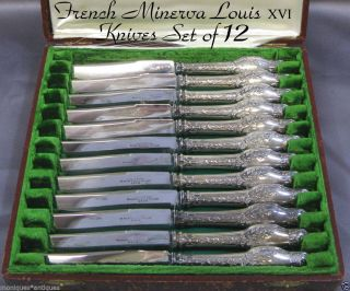 12 Emile Puiforcat French Sterling Knives W/box 1850 - 1899 photo