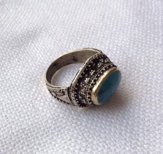 Men ' S Islamic Blue Turquoise Ring Afghan Antique Silver Engraved Intaglio 8 photo