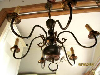 French Massive Old Chandelier 6 Branch Stunning photo