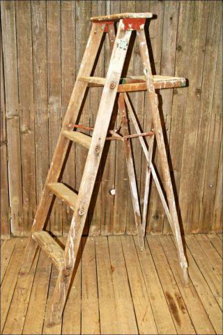Vtg Wood Ladder Shelf 4 Step Barn Farm Primitive Shabby Quilt Rustic Rack Chic 3 photo