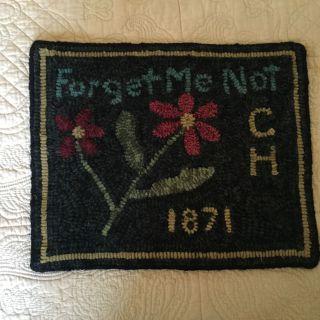Forget Me Not Primitive Handmade Hooked Rug Folk Art Sampler photo