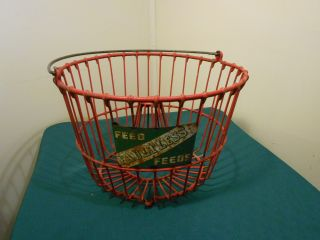 Rare Faultless Feeds Red Rubber Coated Wire Egg Gathering Basket/ Cone Center photo