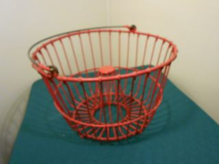 Rare Red Rubber Coated Wire Egg Gathering Basket/ Cone Center photo