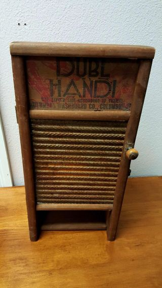 Rare Vintage Wood Wall Dubl Handi Washboard Medicine Cabinet Country Style photo