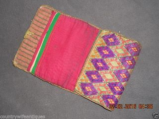 18th Century Ladies Fold Up Wallet/ Pocket Colorful Woven Fabric Hand Stitched photo