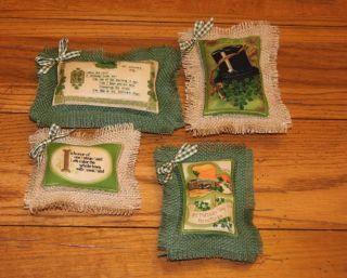 4 Primitive St Patricks Day Tucks,  Vintage Design Fabric & Burlap photo