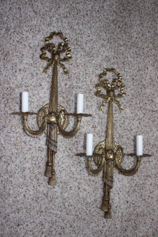 Vintage Large 2 Light Brass Sconces With Ribbon Tops Tassel Bottom 23