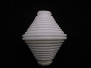 Antique Unembossed Milk Glass Ribbed - Terraced Lightning Rod Ball 4 1/4