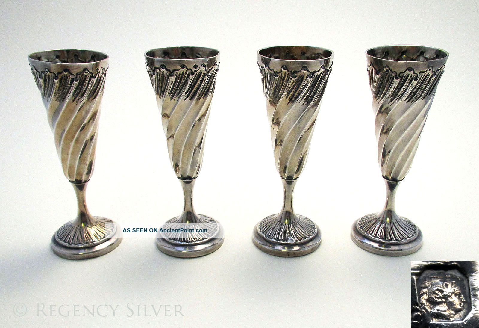19thc French Solid Silver 117g Liqueur Tot Shot Glass Cup Beaker Flutes Goblets Cups & Goblets photo