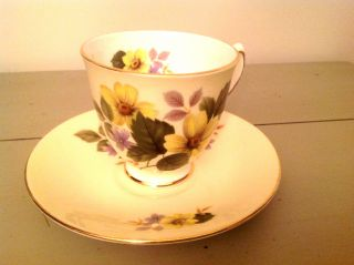Vintage Elizabethan Tea Cup And Saucer Pale Yellow With Floral Design photo