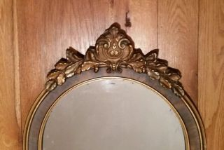 Antique Art Deco Ornate Wooden Mirror Gilt Gold Carved Applied Gesso photo