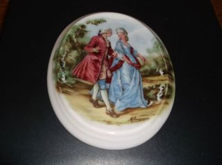 Hand Painted Porcelain Oval Tile Inset Victorian Love Story Romance Scene Signed photo
