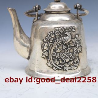 Chinatibet Silver And Copper Hand - Carved Magpie & Peony Teapot W Kangxi Mark photo