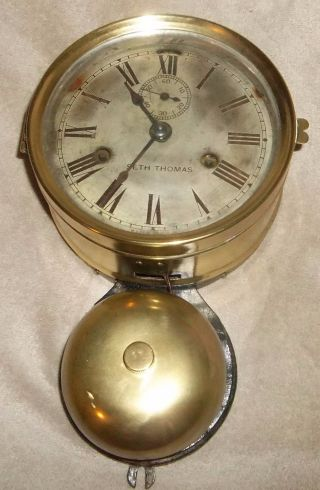 1870 ' S Antique Vintage Seth Thomas Ship ' S Bell Clock W/ External Brass Bell And photo