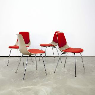 4 Mid Century Modern Fiberglass Side Chairs 224 By Wilkhahn 60s | Stühle 60er photo