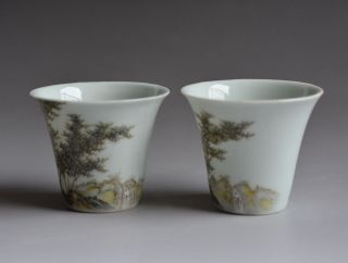 Pair Antique Chinese Porcelain Cups photo