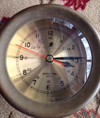 Vintage Solid Brass Nautical Ship Clock Quartz Ship ' S Time photo