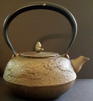 Antique? Japanese Tetsubin Cast Iron Dragon Relief Tea Kettle Signed photo