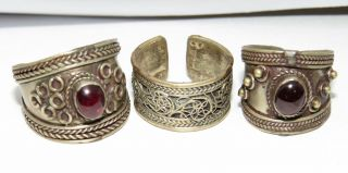 3 Old Kuchi Rings Garnet Silver Alpaca Sz 8,  Adjustable photo