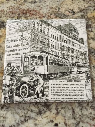 Vintage Erie Pennsylvania And The Electric Trolley Ceramic Trivet,  Pot Holder photo