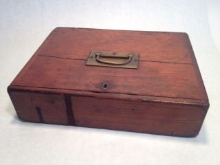 Antique 19th Century Cash Box Brass Hardware Fine Dovetailing Great Age Unusual photo
