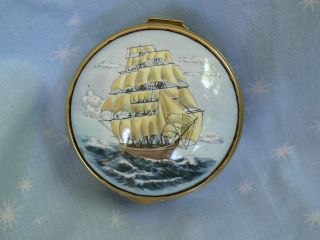 Lovely Staffordshire Enamels Pill Box Sailing Ship Mappin & Webb Hand Painted photo