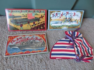 Antique Army & Navy Needle Books 1909 1918 photo