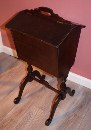 Antique Primitive Sewing Basket Stand & Tray W/ Double Top Wooden Mahogany photo