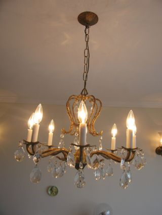 Vintage Antique Early 20th Century Continental Gilt Metal Chandelier photo