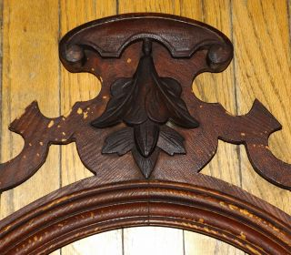 Antique Victorian Crest Carved Arched Oak Wood Vtg Distressed Mirror Pediment photo
