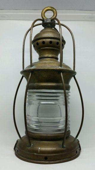 Antique C1900 Solid Brass Nautical Lantern / Railroad Lantern Patina Steampunk photo