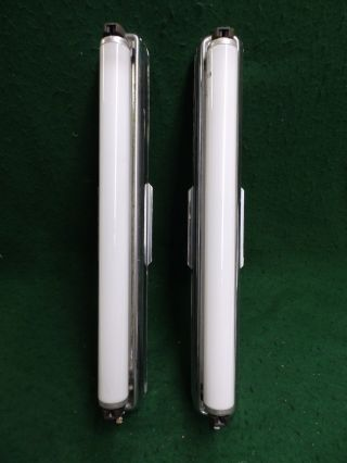 Vintage Pair Chrome Fluorescent Lights Old Vintage Medicine Cabinet 4748 - 15 photo